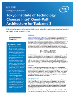 Tokyo Institute of Technology Chooses Intel® Omni-Path Architecture (Intel® OPA) for Tsubame 3