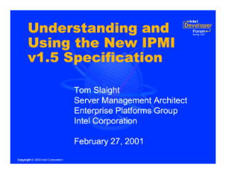 Understanding and  Using the New IPMI  v1.5 Specification