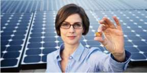 Woman standing in front of solar panels